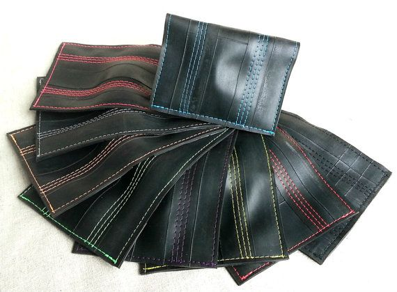 Mens Slim Wallet Recycled Bike Tube Upcycled di MoabBagCompany