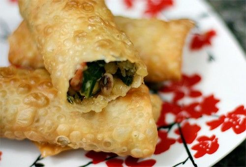 Southern-Fried Egg Rolls (bacon, collards, black eye peas) YUM!  from www.ezrapoundcake...