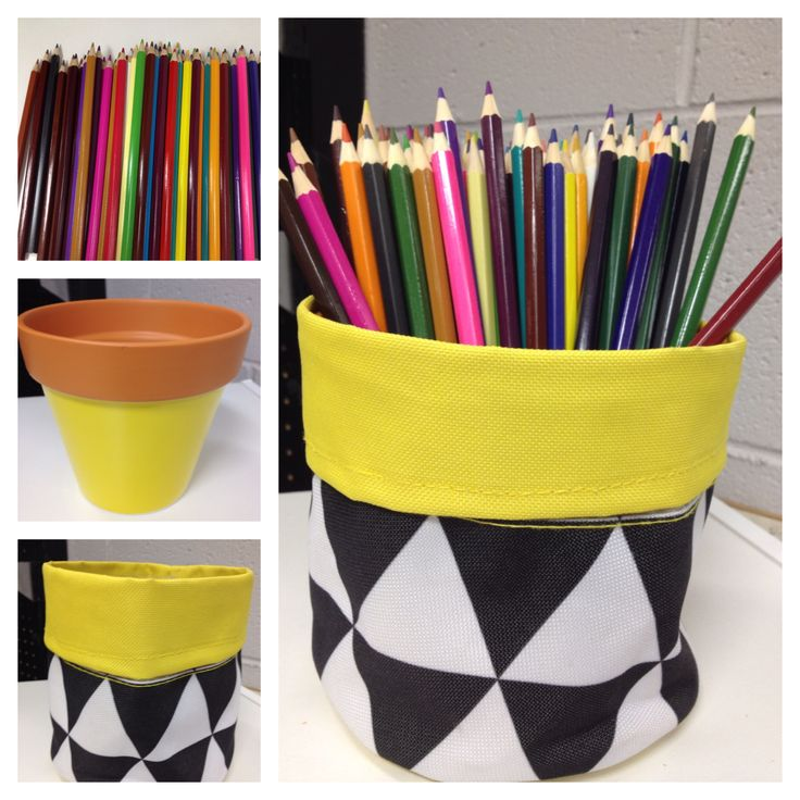 Easy pencil holder, get some pencils, new terracotta pot from Kmart and the new pot covers at Kmart and you will  have a new pencil holder for your desk that is on trend.