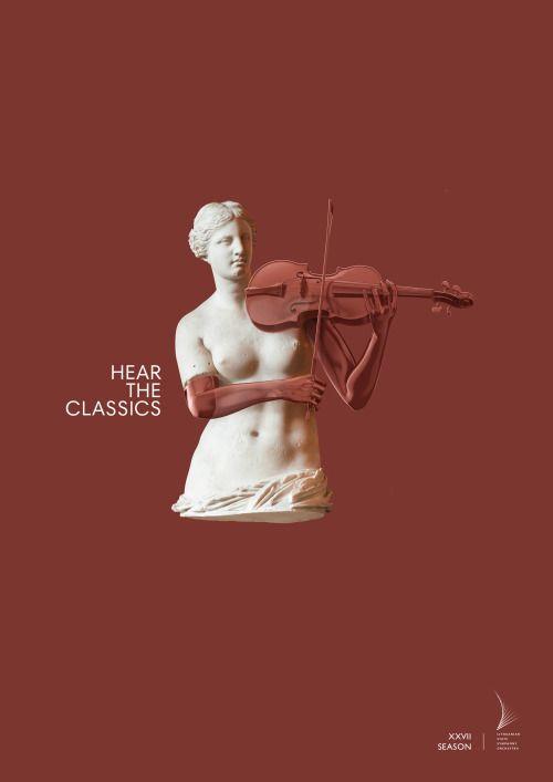 """リトアニアの交響楽団(シンフォニーオーケストラ)が、新シーズンのコンサートを告知するために実施したプリント広告をご紹介。 誰もが一度は見たことのある、古代ギリシアで制作された彫刻「ミロのヴィーナス」を使ったクリエイティブです。全3種類。 [フルート編]  [トランペット編]  [ヴァイオリン編] 欠けているはずのヴィーナスの両腕が復元されて、フルート、トランペット、ヴァイオリンを手にして演奏しているというビジュアル。 コピーは、""""Hear the classics""""(クラシック音楽を聞こう[古典について触れて理解しよう])。 """"クラシックのオーケストラを聞くこと""""は、すなわち、""""あなたが知らない古典アートの素晴らしく美しい側面[≒まだ見ぬヴィーナスの両腕]を発見すること""""と同意なんです、と示唆しているようです。"""