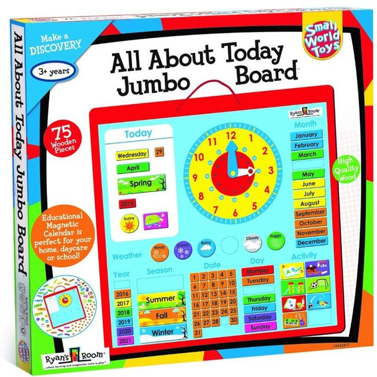 Full of fun features that teach children about calendar, weather, seasons, and time concepts, this super visual All About Today Jumbo Board is the best preschool calendar!