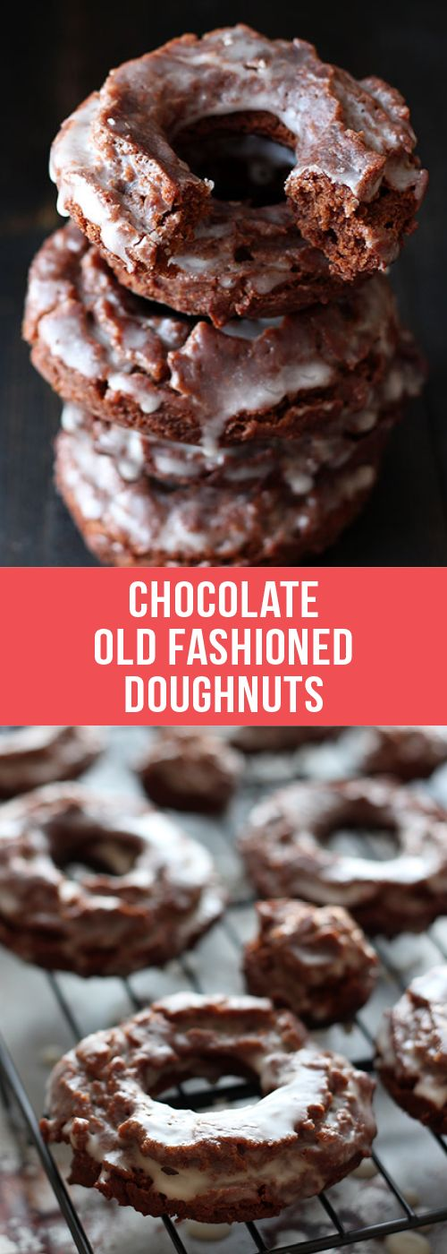 These doughnuts are crazy good! Cakey fried Chocolate Old Fashioned Doughnuts with sour cream, a thick luscious glaze, and no yeast! Easier than you think!  #chocolate #doughnuts #donut #dessert #food #breakfast #brunch #recipe #dessertrecipes #doughnutrecipes