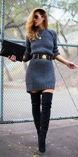 Dunkelgraues Strick Sweatkleid, Schwarze Overknee Stiefel aus Wildleder, Schwarze Leder Clutch, Schwarzer Leder Taillengürtel für Damen