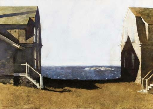 'Summer House, Winter House' by Jamie Wyeth, not Edward Hopper. FYI, a major Faux Pas by someone, somewhere along the way.