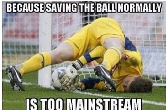 It just sort of happens. We goalies have no choice! Soccer⚽