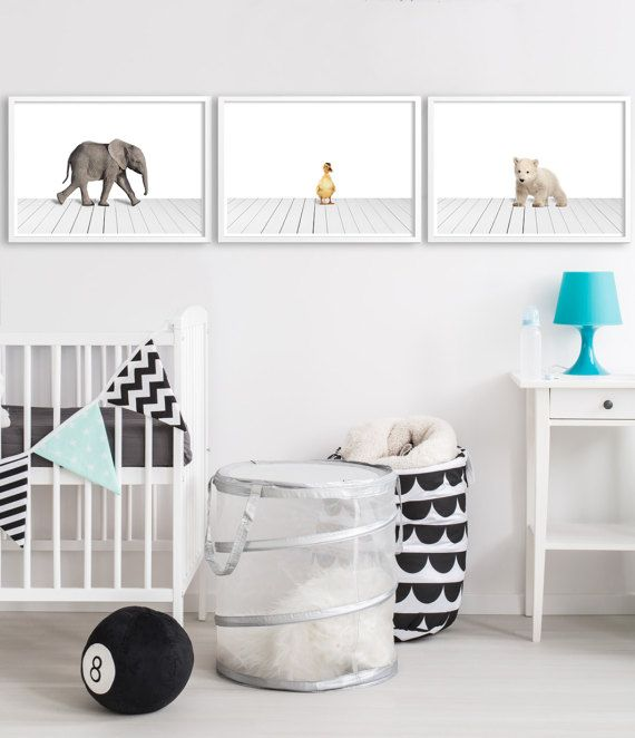 Nursery art animal prints, nursery decor, set of 3 prints babies nursery, baby elephant, duckling, baby polar bear. Art prints for the walls of your home by Little Ink Empire on Etsy