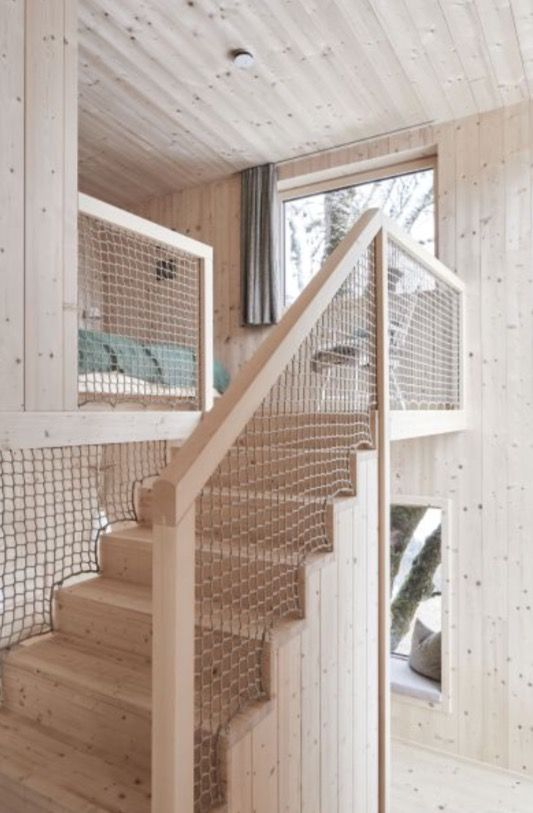 "This wooden cabin staircase is from our feature ""Go with the Snow"""