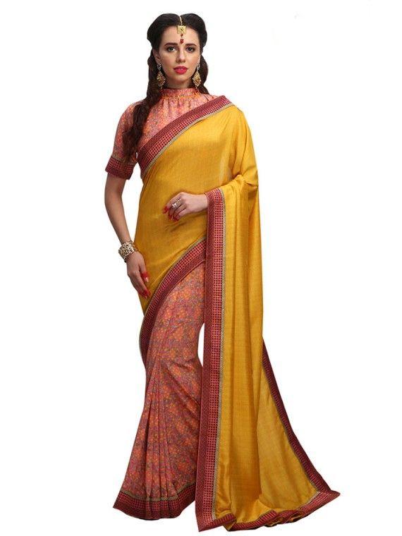 Lovable Peach and Yellow Designer saree
