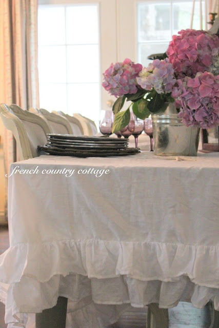 Shabby Ruffled Tablecloth From French Country Cottage