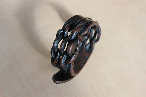 Unisex leather bracelet braided dark leather bracelet tangled