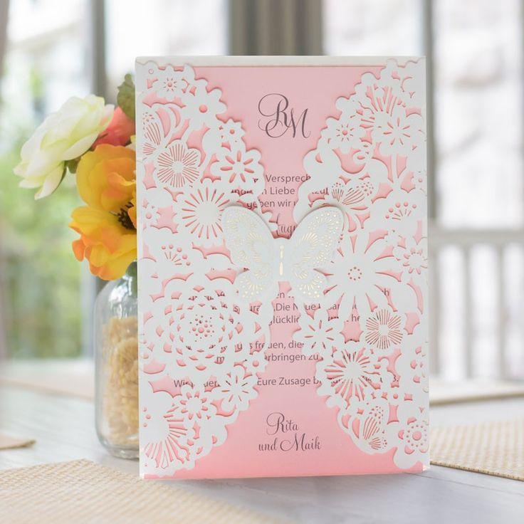 Elegant Hochzeitseinladung Zarter Schmetterling Rosa