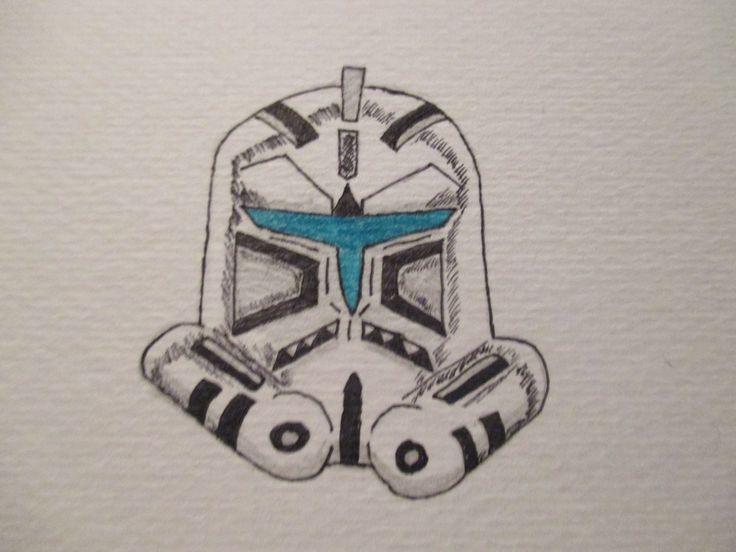 A Drawing of my Custom Star Wars Clone trooper helmet.