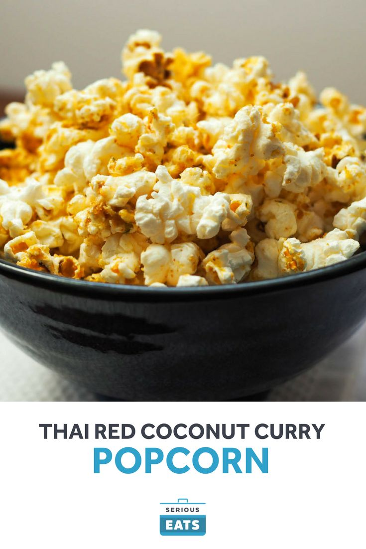 A steaming bowl of Thai coconut soup is re-imagined as a popcorn flavor.
