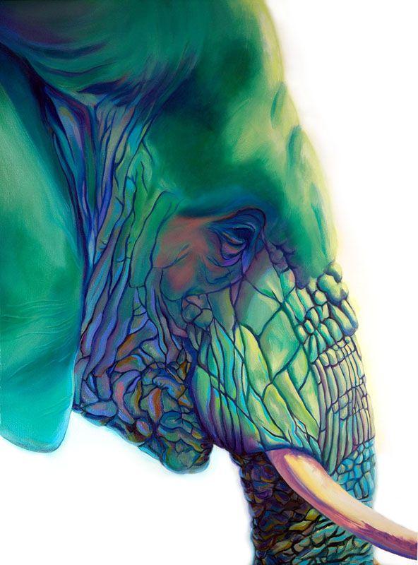 Blue Mountain elephant painting by Corina St Martin