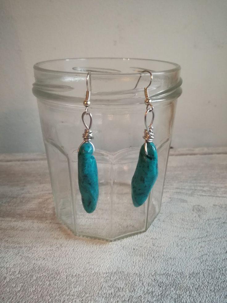 Boucles d'oreilles en argile polymère imitation pierre turquoise : Boucles d'oreille par au-bonheur-demma