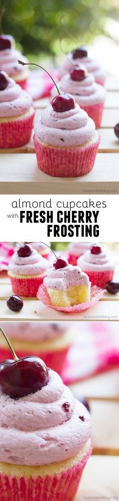 Moist almond cupcakes made from scratch are topped with a light and fluffy cherry buttercream, made from fresh cherries.