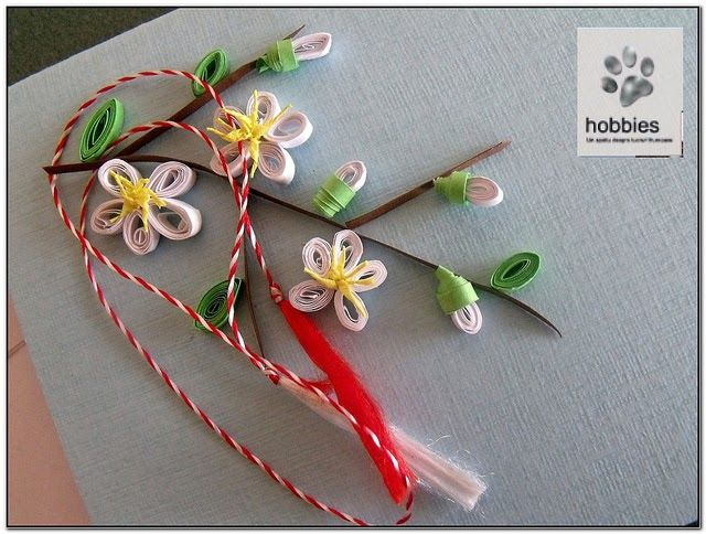 Quilling Card: Blooming Branch with White Flowers.