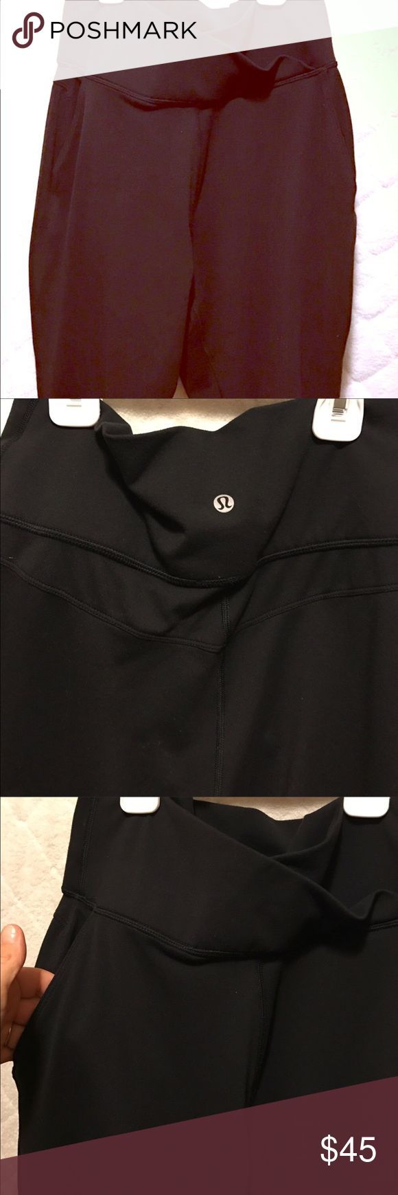 (((Sold)))Lululemon pants Similar to herms style lulus lose front fitting can do high waist or can come down to show the crisscross design. Super comfortable. 7/8 length lululemon athletica Pants Track Pants & Joggers
