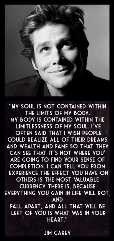 Very honest words from the ever funny Jim Carey ❤️