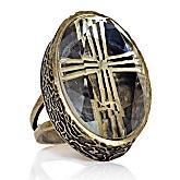 Sophie & Shannon's Jewel Box Oval Sunken Cross Ring: Crosses Design, Sparkle Jewels