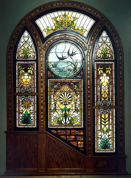 Swallows over the Lillypond, 1870-80 window from the home of H.M. Peck in Kalamazoo, MI.