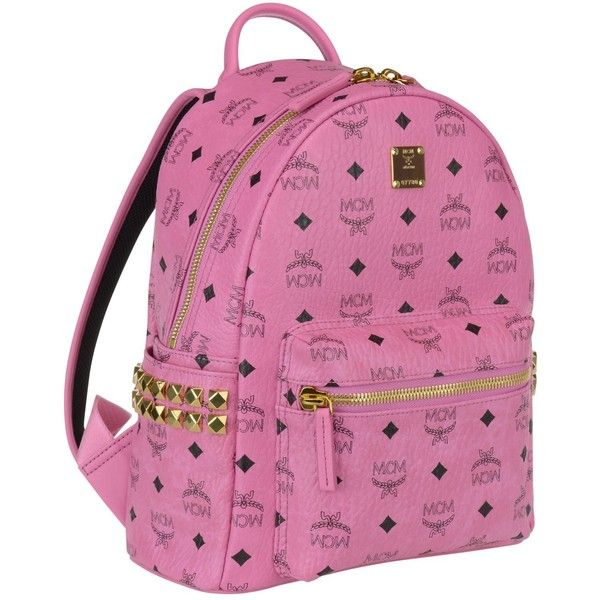 Mcm Stark Small Backpack ($550) ❤ liked on Polyvore featuring bags, backpacks, pink, mcm backpack, pink backpack, mcm bags, pink bag and rucksack bags