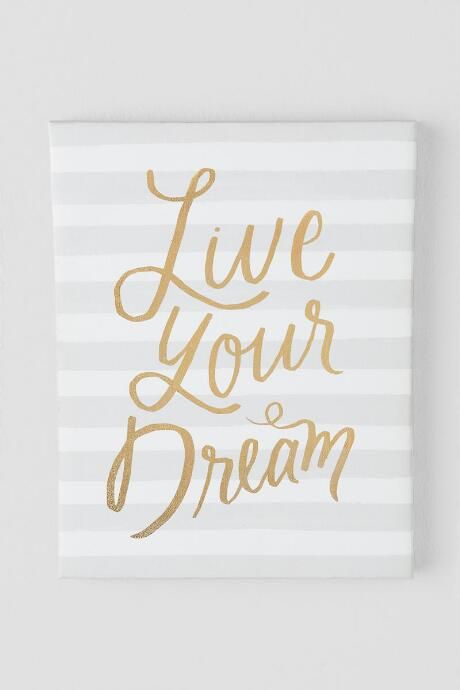 Gold Live Your Dream Stripe Canvas