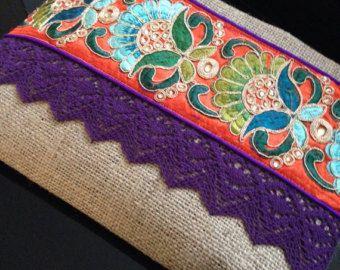 Embrague de étnica las mujeres bolso boho bohemio embrague
