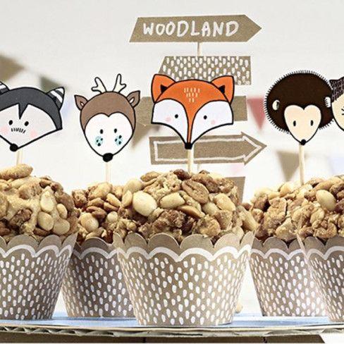 """Kit per Cupcake con base e topper """"AMICI DELLA FORESTA"""" (6pz) - Baby Party - Party e allestimenti"""