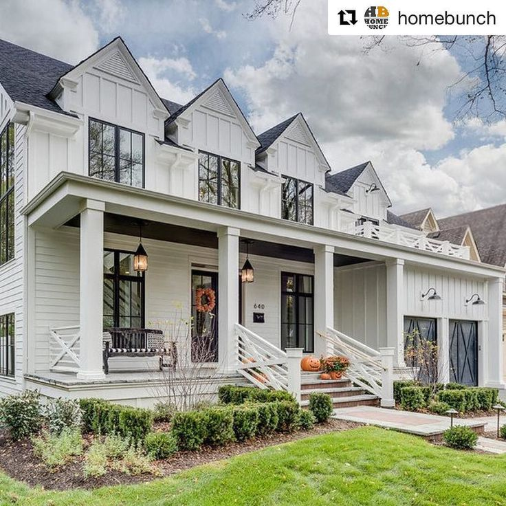 External Panelling ideas #inspire #Repost @homebunch (@get_repost)  Another angle of this timeless #modernfarmhouse. I love the white #boardandbatten #siding and the #blackwindows. Sipping a fresh cup of #coffee in this #porch would taste extra good! :) Design by @mhousedevelopment #onetofollow #homes #beforeandafter #homedecor #exteriors