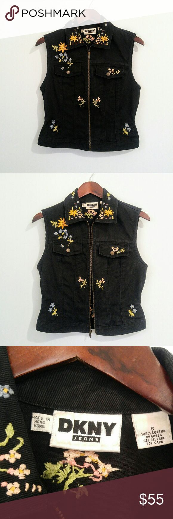Vintage DKNY Embroidered Black Denim Vest size S Excellent condition DKNY floral embroidered black denim vest. Size small. Very slight fading.  Shipped within 24 hours of purchase. All offers welcomed & bundles always discounted. Thanks for looking :) Dkny Jackets & Coats Vests