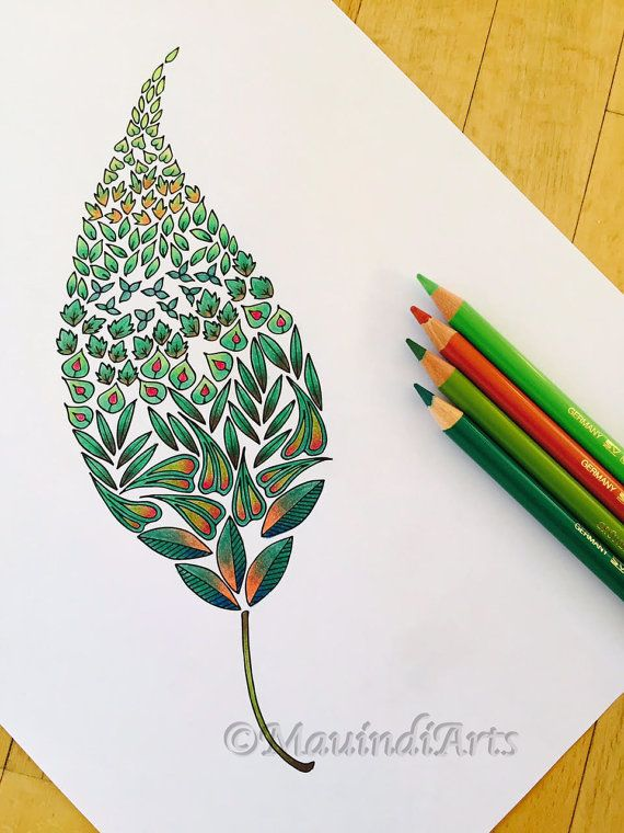 Hand Drawn Adult Coloring Page Print Little Leaves By MauindiArts