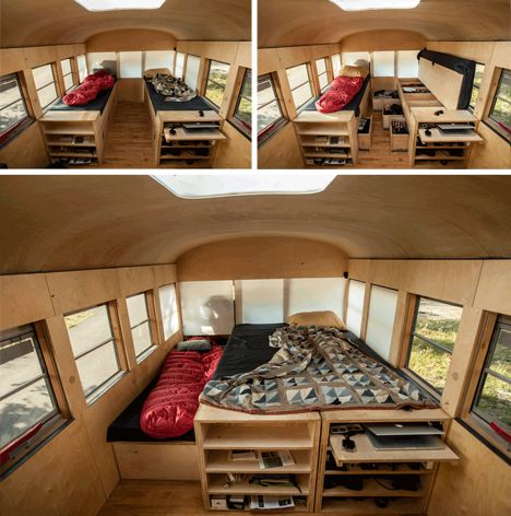 minimalist home in a school bus. I love the ideas for tiny living, too.