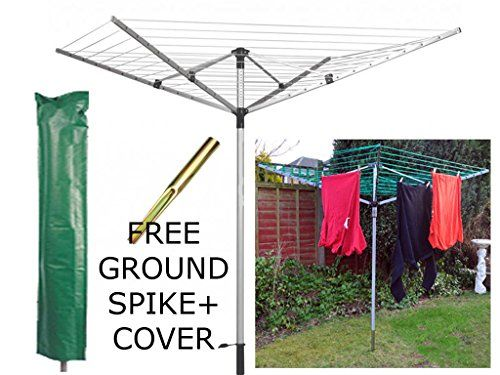 FiNeWaY@ LIVIVO HEAVY DUTY 4 ARM ROTARY GARDEN WASHING LINE CLOTHES AIRER DRYER 45M + FREE COVER