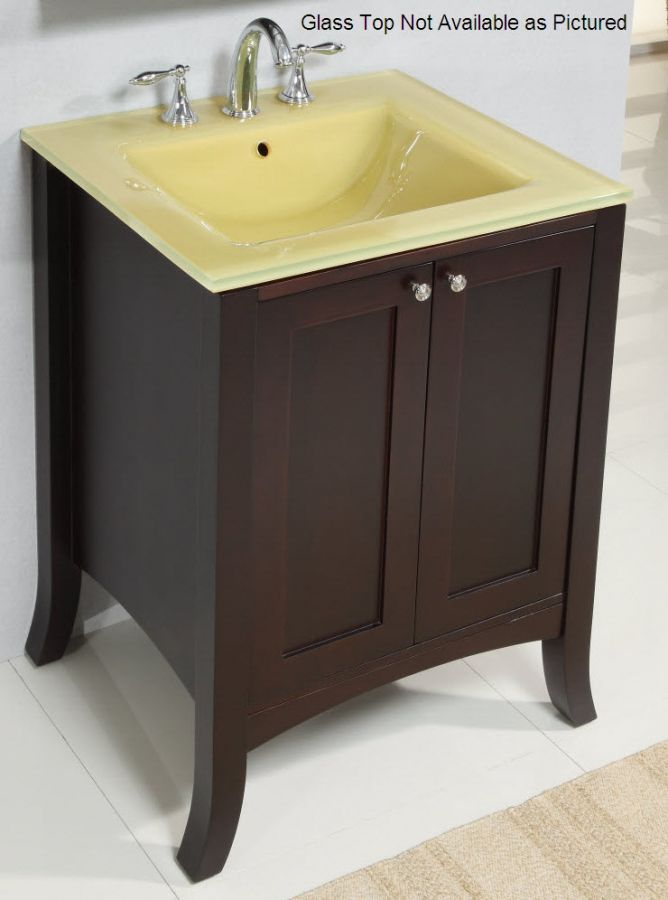 Images On  Inch Single Sink Modern Bathroom Vanity with Dark Brown Finish and Choice of Counter Top