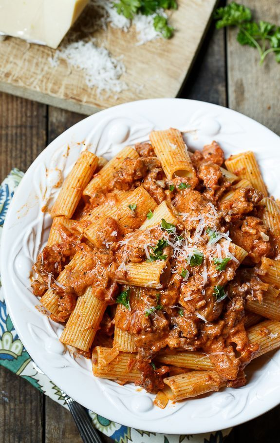 Sausage Rigatoni with Spicy Tomato Cream Sauce from /FMSCLiving/