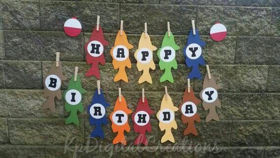 Fishing Birthday Party, fishing themed birthday banner, fishing birthday, Happy birthday banner, Baby Shower, Fishing party, fish banner by KpDigitalCreations on Etsy https://www.etsy.com/listing/236652772/fishing-birthday-party-fishing-themed