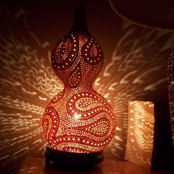 73 best Carved natural gourd lamps images on Pinterest
