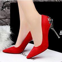 Mulheres Sexy Sapatos de Fundo Vermelho Salto Alto Faux Suede Partido Apontou Toe de Salto Alto Bombas Senhoras sapatos de Casamento Sapatos de Noiva sapato Saltos de Escritório(China (Mainland))