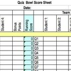Quiz Bowl Score Sheet: spreadsheet to keep track of Quiz Bowl team performance. All formulas included in spreadsheet.