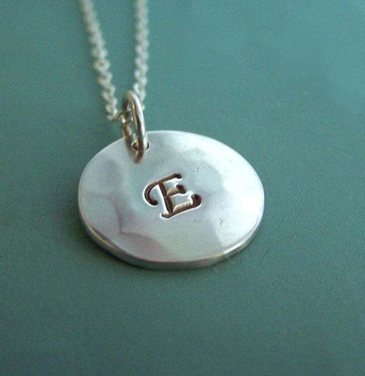 """Hand Stamped Initial Necklace  Sterling Silver 1/2"""" by esdesigns"""