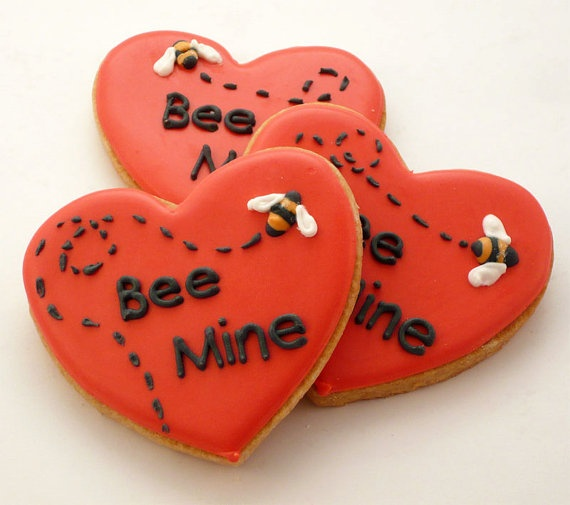 decorated cookies valentines day bee mine by katieduran on etsy 3200 so cute for - Decorated Valentine Cookies