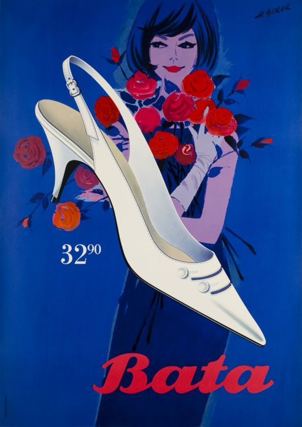 "Bata 32.90 Cute lady with bunch of roses on a deep blue background for Bata, the shoes manufacturer. A Swiss ""Sachplakat"" poster by Al Borer, printed in stone-lithography (Object style poster)."