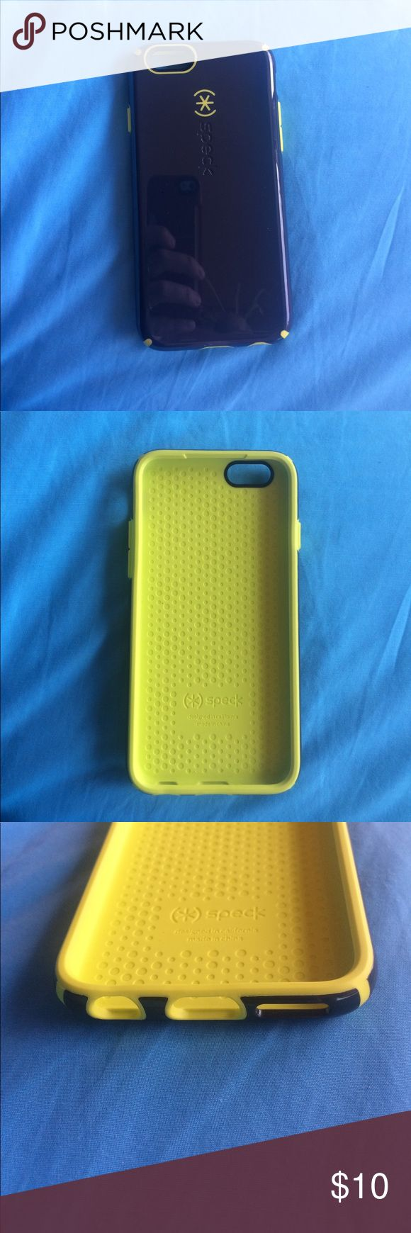 Blue and Yellow Speck IPhone 6 Case Dark blue and yellow IPhone 6 case. Perfectly good condition and super protective :) Accessories Phone Cases