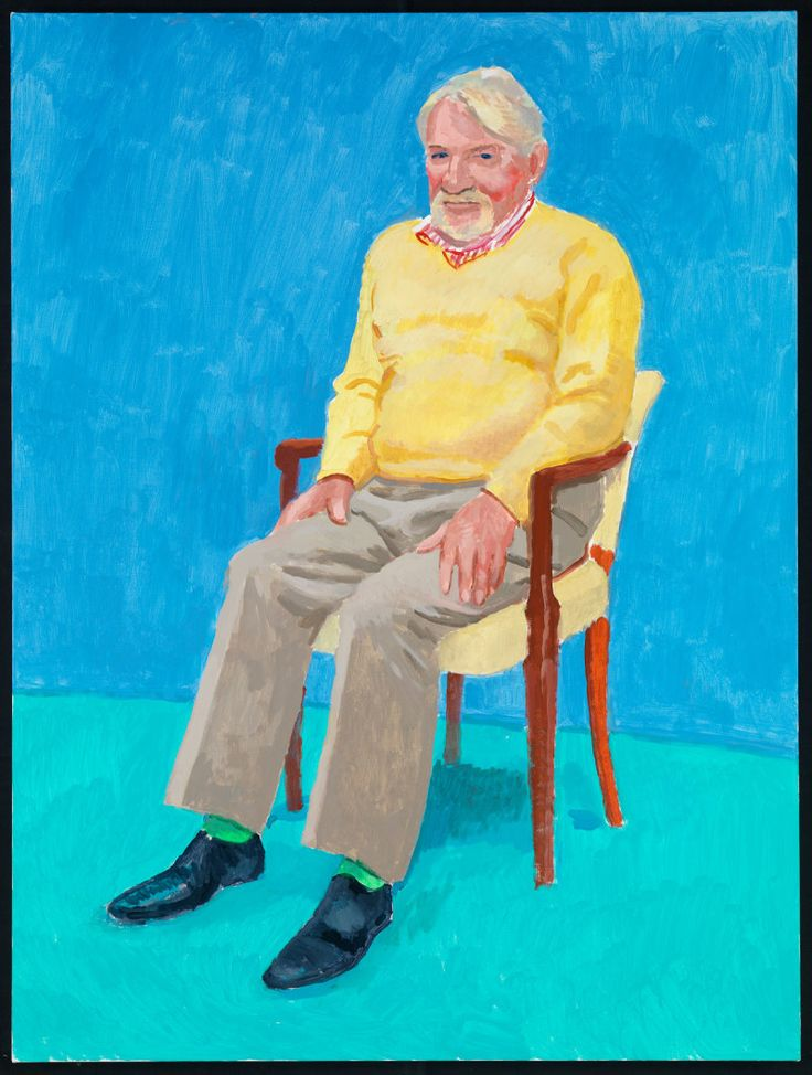 John Hockney by David Hockney, 5-6 November 2013, acrylic on canvas. 121.92 x 91.44 cm. © David Hockney Photo credit: Richard Schmidt. | David Hockney RA: 77 Portraits, 2 Still Lifes | Exhibition | Royal Academy of Arts
