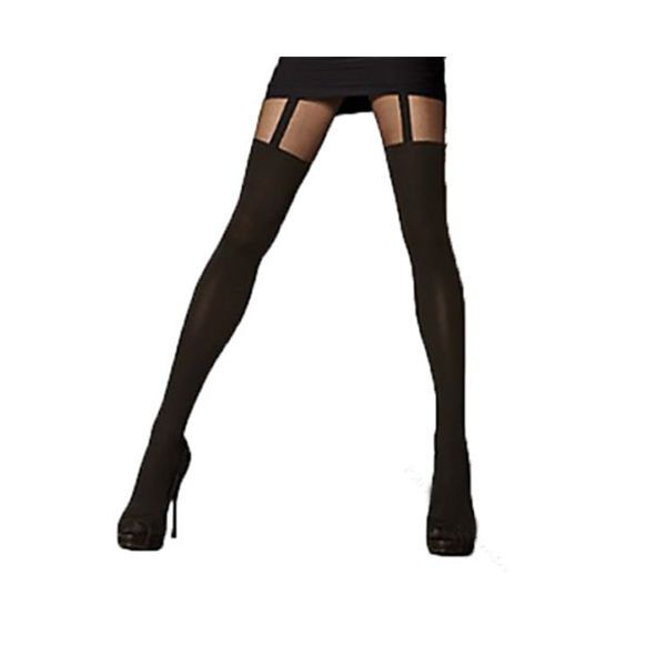 Calze Sexy Donna Collant Nero autoreggente Cavallo Tights stocking Collant