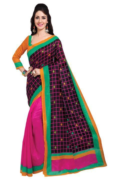 Casual Daily Wear Black Color Printed Silk  Saree