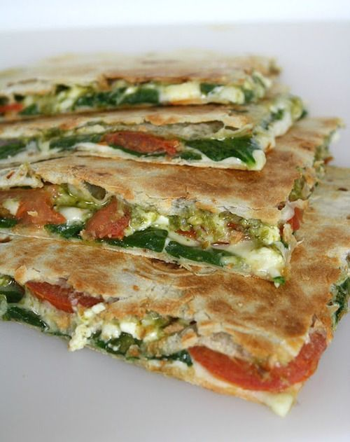 Spinach Tomato Quesadilla with Pesto. I have a weakness for pesto. This looks…