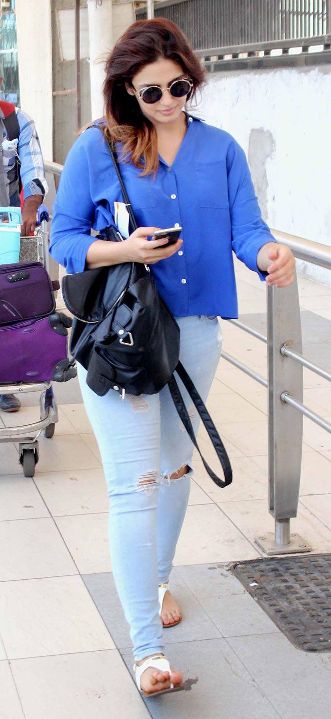 Huma Qureshi spotted at Mumbai airport. #Bollywood #Fashion #Style #Beauty