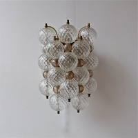A Pair of French 50s Glass Wall Lights in the style of Murano
